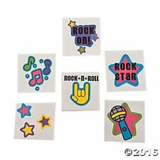 72 Rock Star Temporary Tattoos Kids Birthday Party Favor Gifts