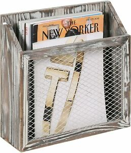 Rustic Torched Wood & Chicken Wire Wall-Mounted Magazine Holder w/ Hole Brackets