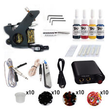 Complete Beginner Tattoo Kit Tattoo Machines Gun Black Ink Set Power Supply Grip