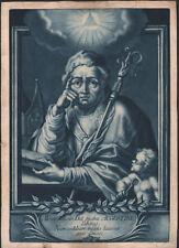 XVIIIe Rare gravure Saint Augustin eau-forte baroque christianisme manière noire
