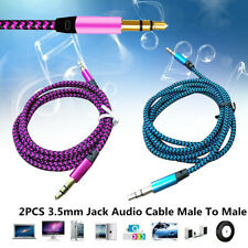 2PCS 3.5mm Male to Male Aux Cable Cord Car Braided Audio Headphone Jack Portable