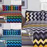 3D Stripe Zig Zag Chevron Reversible Print Duvet Quilt Cover Bedding Pillowcases