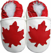 carozoo maple leaf white 2-3y soft sole leather toddlers shoes