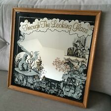Very Rare Vintage Alice In Wonderland Through The Looking Glass Mirror Picture