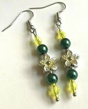 Silver Green Pearl Flower Earrings Island Style Dangle Yellow Spring Plated