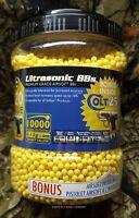 10,000 Ultrasonic Premium 0.12g Airsoft BBs Yellow 6mm with Bonus Spring Pistol