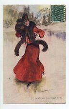 CANADA carte postale ancienne Canadian skating girl par illustrateur