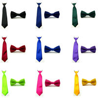 Baby Boy Kids Plain Satin Solid Matching Color Pre-tied Bowtie Bow Neck Tie Set