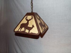 Steel Bull Elk and Mule Deer Bar Pendant Dart Board Light Lamp rustic hunt BLACK