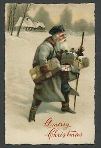 c.1910 SANTA CLAUS POSTMAN MAILMAN Germany SB Special Lithograph X-Mas Postcard2