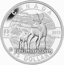 2013 Oh! Canada Series #8 Mother Caribou with Baby Calf $25 Pure Silver Proof