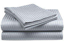 Queen Size Silver/Gray 400 Thread Count 100%Cotton Sateen Dobby Stripe Sheet Set