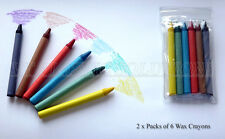 4 Packs of 6 Wax Colouring Crayons, Art Pencil Party Bag Filler BARGAIN PRICE!!!