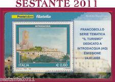 TESSERA FILATELICA FRANCOBOLLO IL TURISMO INTRODACQUA AQ 2008 M42