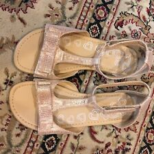 The Children's Place size 3 Rose Gold Ankle Strap Sandal Bow Detail Easy Fasten