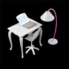 Barbie Dollhouse Furniture Desk+Lamp+Laptop+Chair Play house Prop For Dolls 0tm