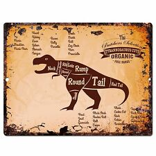 PP0670 Vintage Tyrannosaurus dinosaur Meat Cuts sign Home Shop Kitchen Decor