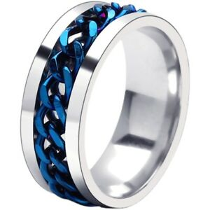 Blue Chain Ring Stainless Steel Rings Hip Hop Jewelry for Mens Womens Size 13