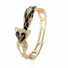 Bracelet Cuff Bangle Wristband Rhinestone Alloy Fox Hollow Black Enamel 58mm