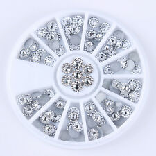 1 Box Nail Art Decoration in Wheel Silver Flat Bottom Rhinestone 4mm Manicure