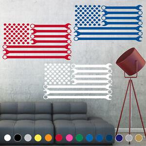 Wrench American Flag Decal Sticker Mechanic Wall Art Living Room House Decor V1