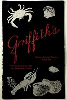 Vintage Full Size Dinner Menu GRIFFITH'S RESTAURANT Fort Lauderdale Florida