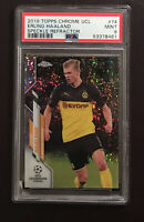 🔥2019 Topps Chrome UEFA Champions League Erling Haaland Speckle Refractor PSA 9