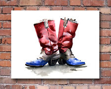 """COWBOY BOOTS"" Watercolor Western ART Print Signed by Artist DJR"