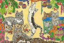LIMITED EDITION postcard TABBY CHRISTMAS cats Pamela Bassett CCC2