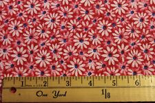 Fabric by Yard Crazy Daisy Red w/ blue Quilting & Sewing Cotton