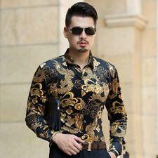 Mens Slim Velvet Shirts Paisley Print Gold Long Dragon Pattern Long Sleeve Tops