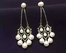 White Pearl Dangle Earring with  Stud