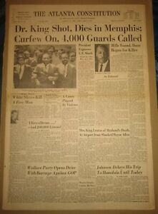 The Atlanta Constitution April 5, 1968 Martin Luther King Assassinated 12-Pages