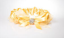 Golden Bridal Garter Big Yellow Bow with Crystal Weddings Accessories