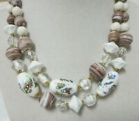 Vintage Gold Tone Two Strand Glass & Foil Bead Necklace Marked Japan