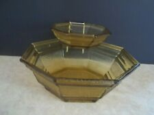 Vintage mid 1900's Anchor Hocking 3 Piece Chip and Dip Set