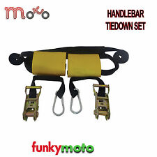 MOTORBIKE HANDLEBAR TIEDOWN SET MOTORCYCLE LUGGAGE TIE PACK STRAPS RATCHETS PACK