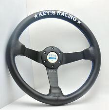 340mm KEY's Leather Steering Wheel Deep Dish OMP SPC Racing Drifting Rally NW B