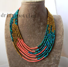 7Strands 18'' Coral Crystal Malachite Necklace