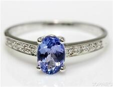 Tanzanite Solitaire with Accents White Gold Engagement Rings