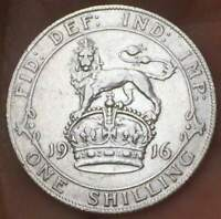 1916 Great Britain ONE  Shilling .925 Silver 5.66 GM  George V **XF/AU** GB COIN