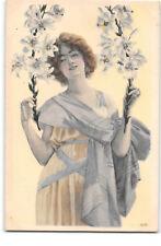 Artist-R.A.-Woman-Lady-OPF-Lilies-Lily-Flower-Scarf-Fashion-Antique Postcard
