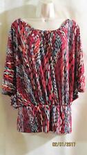 M by MARC BOUWER~ Red Black Gray Print Stretch Knit Top~Batwing~X Back~S~NWOT