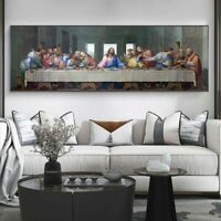 The Last Supper Canvas Wall Art DaVinci Jesus Christ Religious Poster Decoration