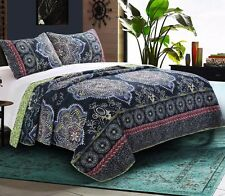 TWYLA 3pc King Quilt Set Reversible Blue Floral Exotic Medallion Mandala Indigo