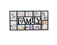 ~ Large Family Photo Frame 10 Multi Aperture Black Frame - 1004BK ~