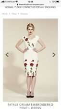 the pretty dress company FATALE CREAM EMBROIDERED PENCIL DRESS size uk 16