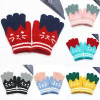 Cute Kids Gloves & Mittens Knitted Winter Warm Full Finger Gloves For Girls Boys