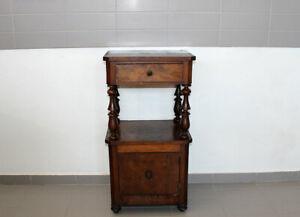 Antico Comodino Massello Lastronato in Piuma di Noce Da Restaurare Fine 800 1517