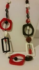 Gorgeous beaded designer resin red white and black necklace